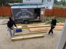 Moving the wood into the basement